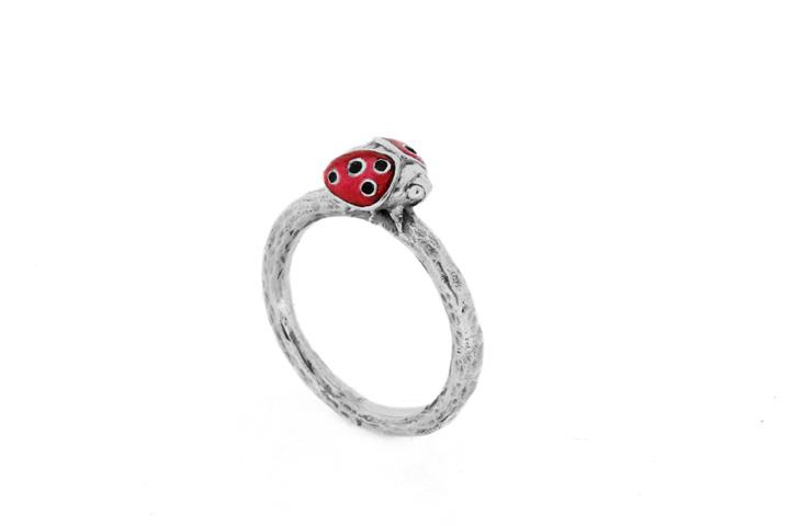 Silver Small Ladybug Ring with Black Diamonds and Red Enamel