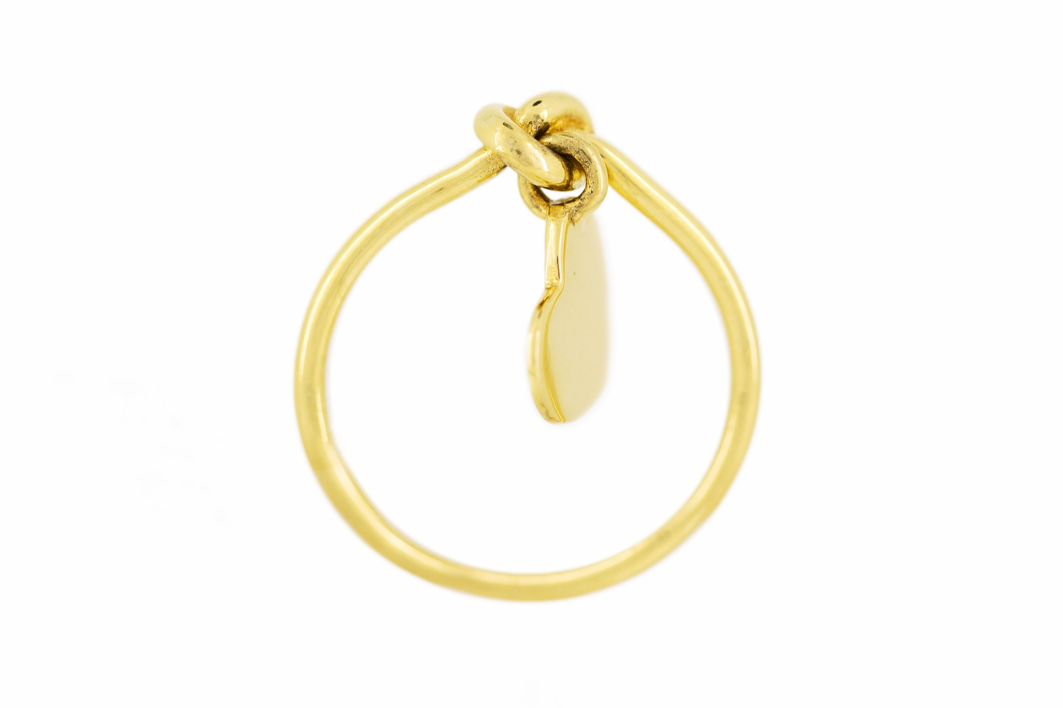 18ct Yellow Gold Knot Ring with Dangling Heart