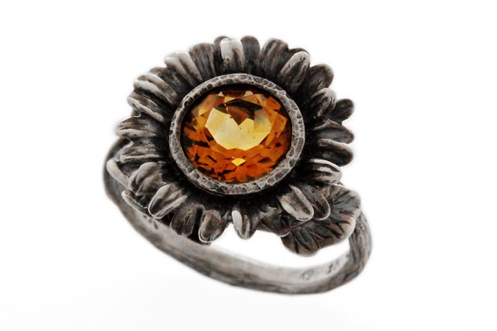 Silver Oxidised Citrine sunflower ring