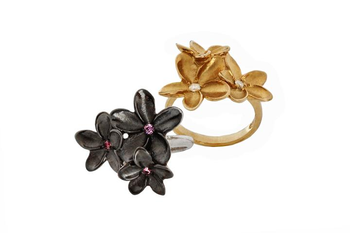 9ct Yellow gold diamond frangipani cluster ring