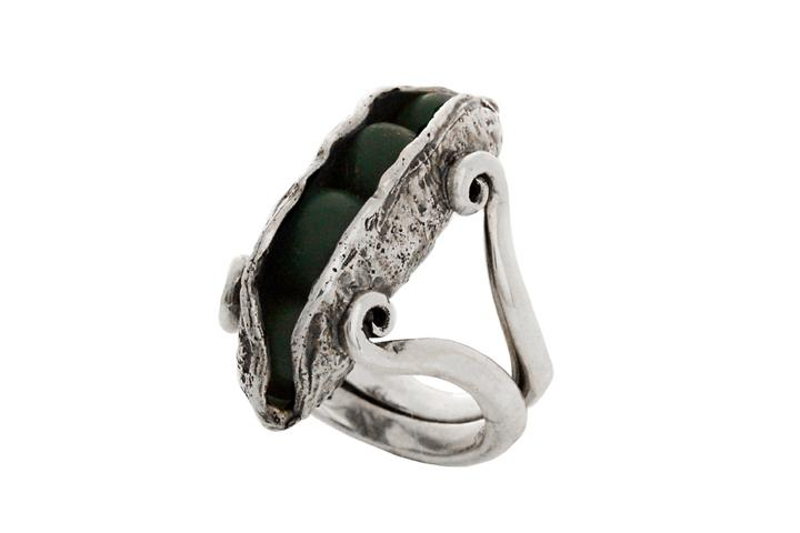 Silver Peas-in-the-Pod Ring with Green Clay Beads