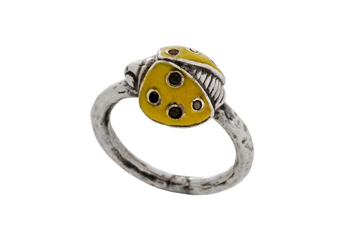 Silver Ladybug Ring with Black Diamonds and Yellow Enamel