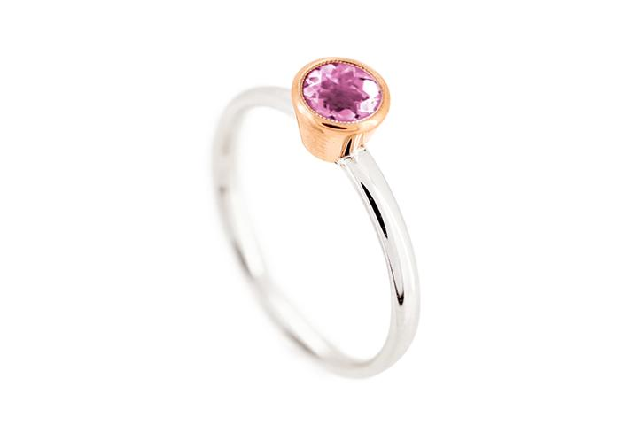 9ct Yellow Gold and Silver, Pink Tourmaline Ring
