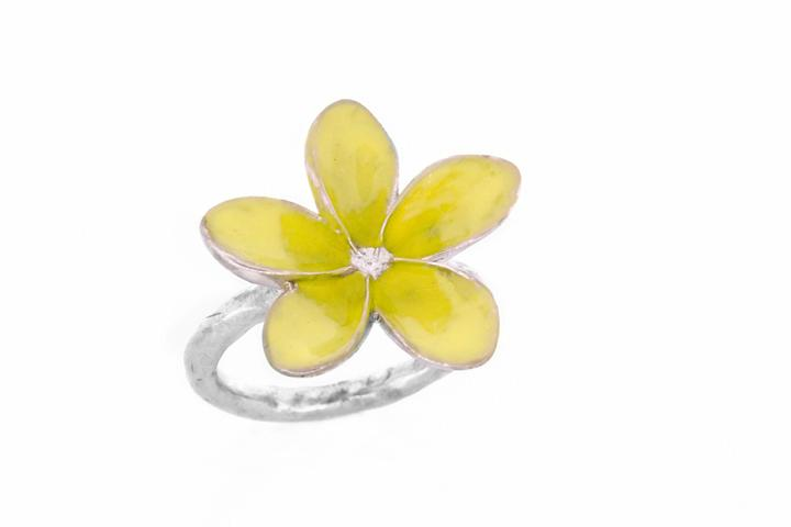 Silver & Yellow Enamel single frangipani ring