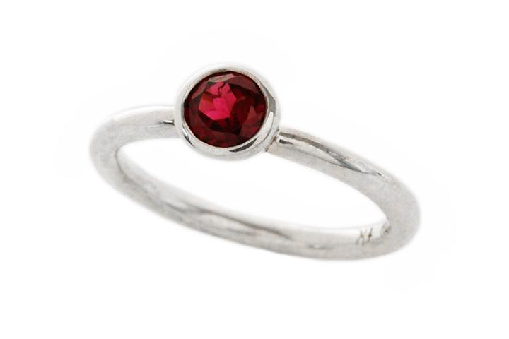 Silver and Rhodolite Garnet Stacking Ring
