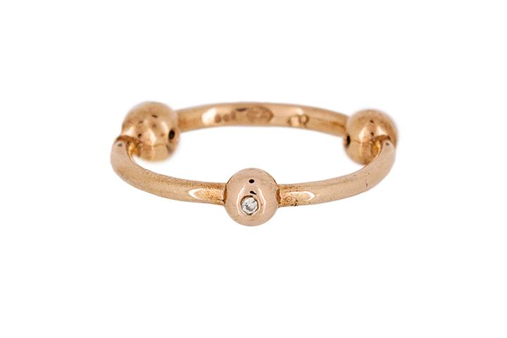9ct Rose Gold and Diamond Tri-Ball Ring