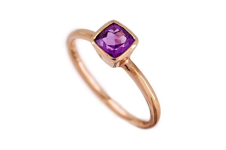 9ct Rose Gold and Amethyst Ring