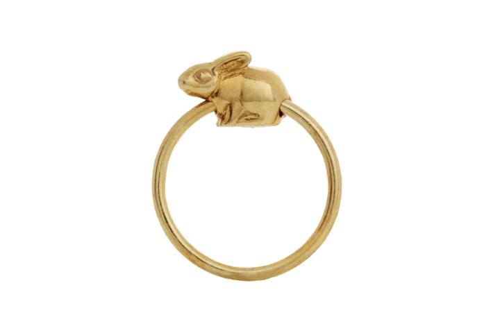 Silver Yellow gold gilded Riverine Rabbit slider ring