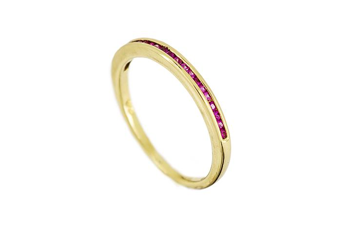 18ct Yellow Gold and Pink Sapphire Channel-Set Half-Eternity Ring