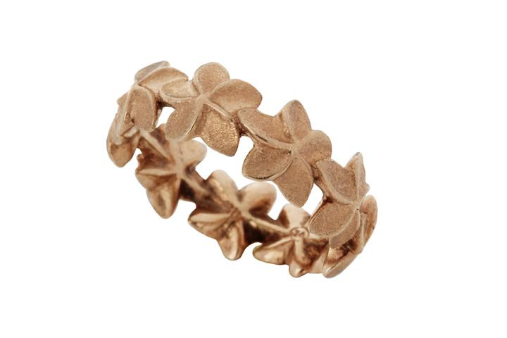 Rose Gold Gilded Silver Frangipani Eternity Ring