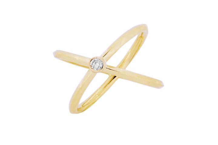 9ct Yellow gold diamond Orbit ring