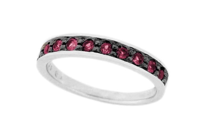 Silver Garnet Stacking Ring