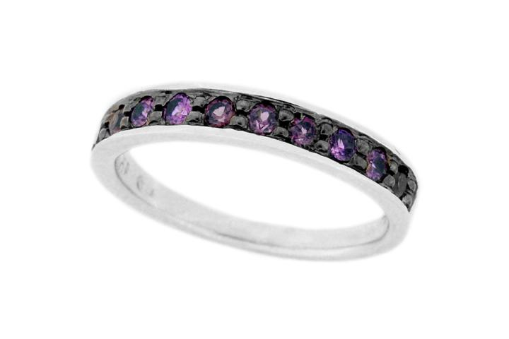 Silver and Iolite Stacking Ring