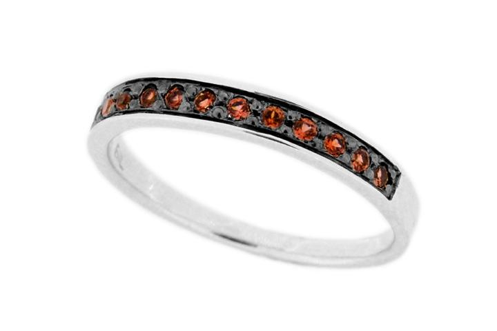 Silver and Garnet Stacking Ring