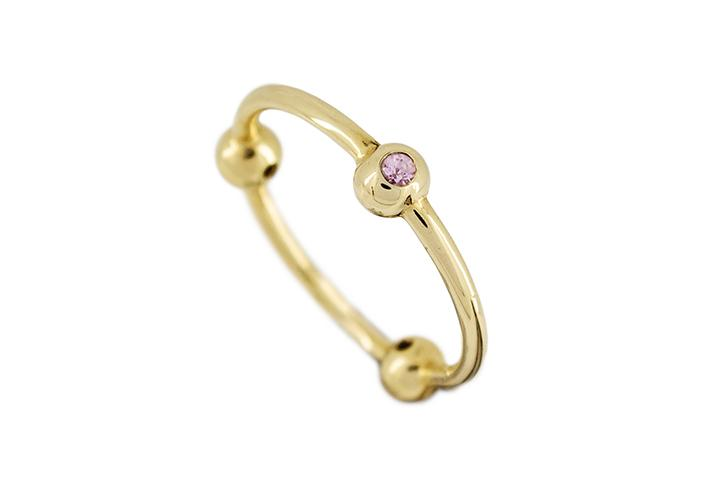 9ct Yellow Gold and Pink Sapphire Tri Ball Ring