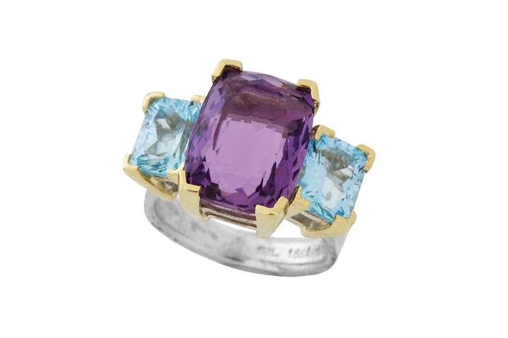 Amethyst & Blue Topaz Juicy Ring