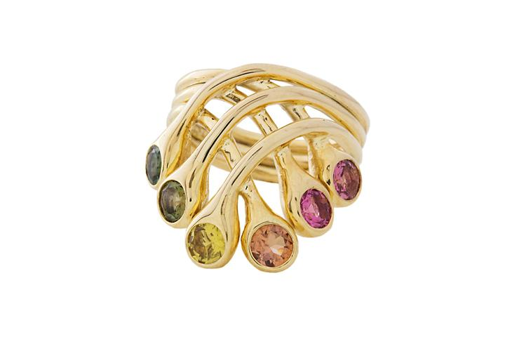 9ct Yellow gold Tourmaline Crown Ring