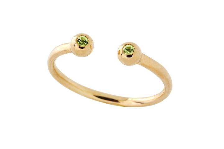 Silver Yellow Gold Gilded Peridot eye opener ring