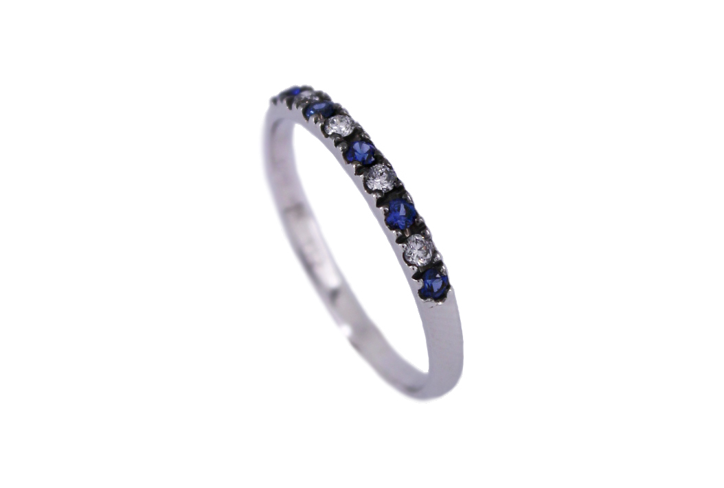 Sapphire & Diamond Half Eternity Band in 9ct White Gold