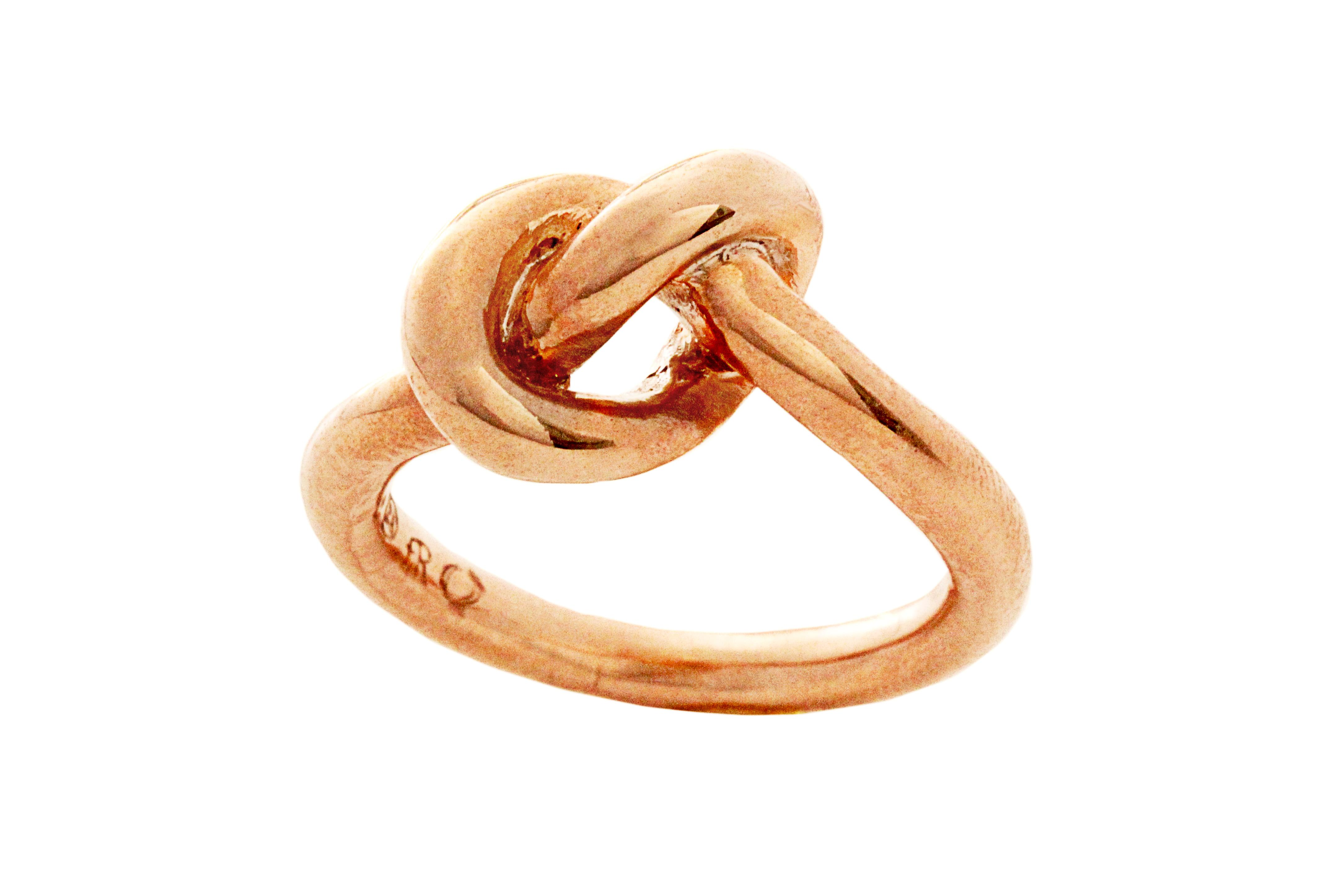 Rose Gold Gilded Silver Knot Ring (bold)