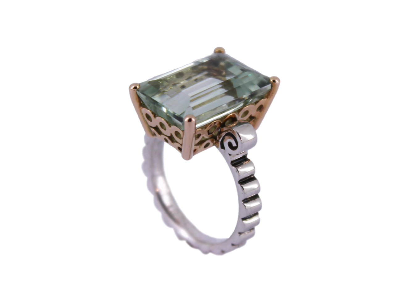 Prassiolite Cocktail ring in 9ct  Rose Gold & Silver
