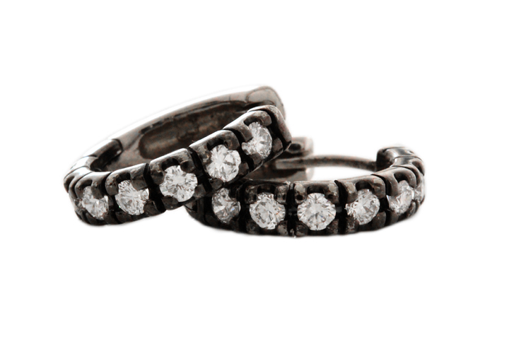 9ct White Gold Diamond Huggies with Black Rhodium Finish