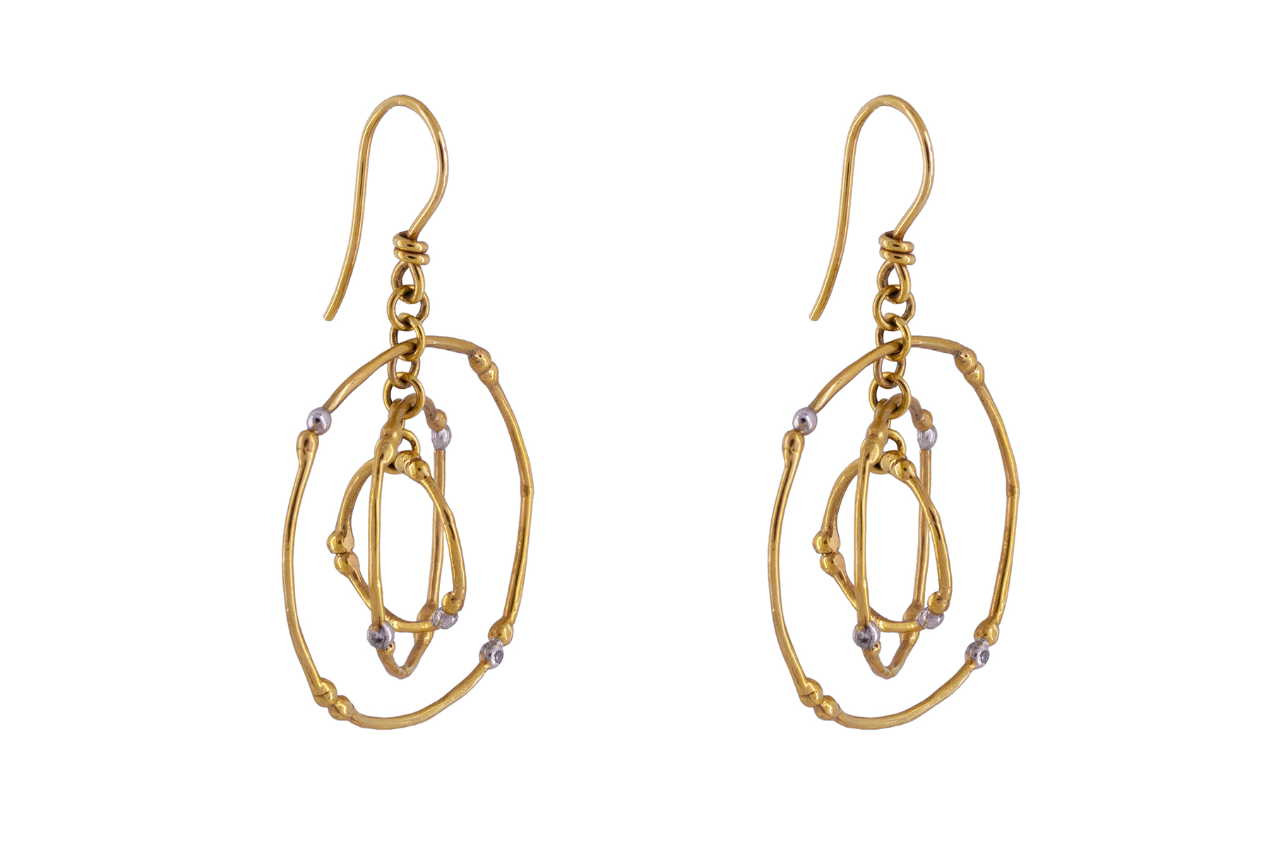 Twiggy Earrings in solid 9ct Yellow Gold with Diamonds