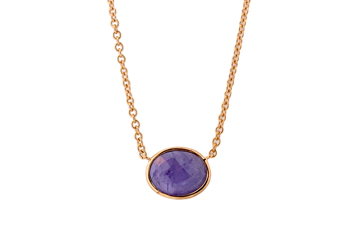 9ct Rose Gold Tanzanite Slab Necklace