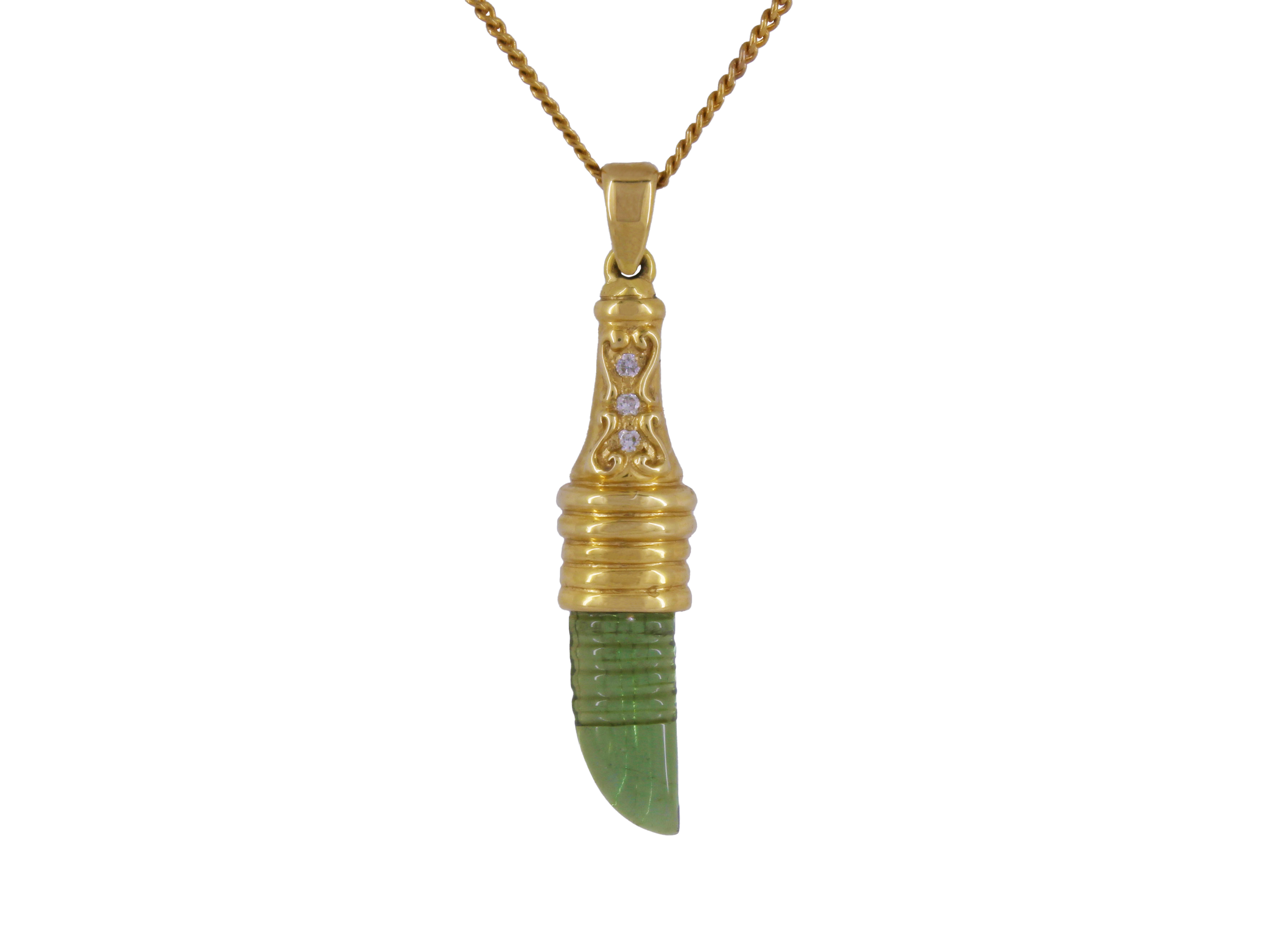 Green Tourmaline Dagger in 18ct Gold