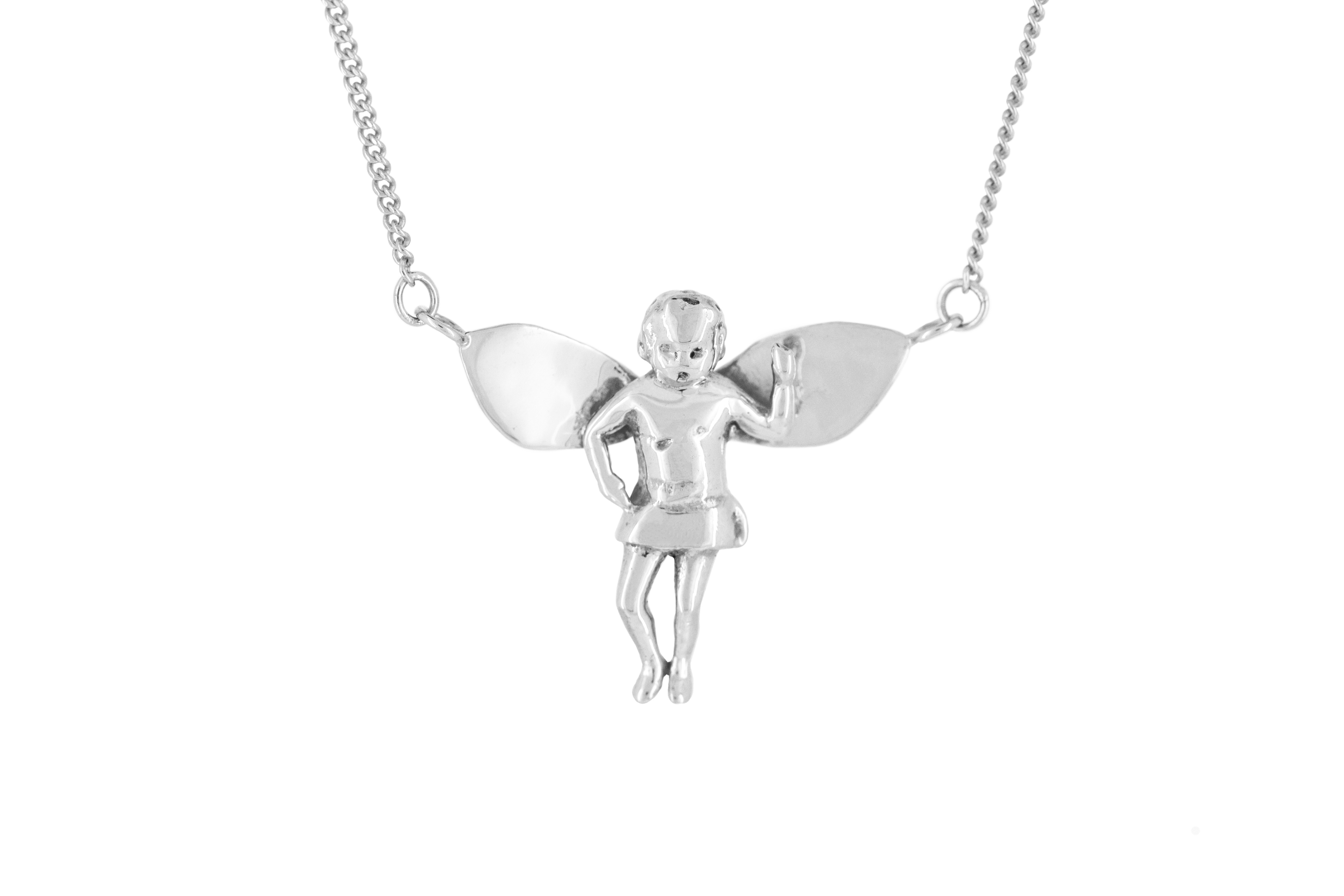 Baby Angel Necklace in 9ct White Gold