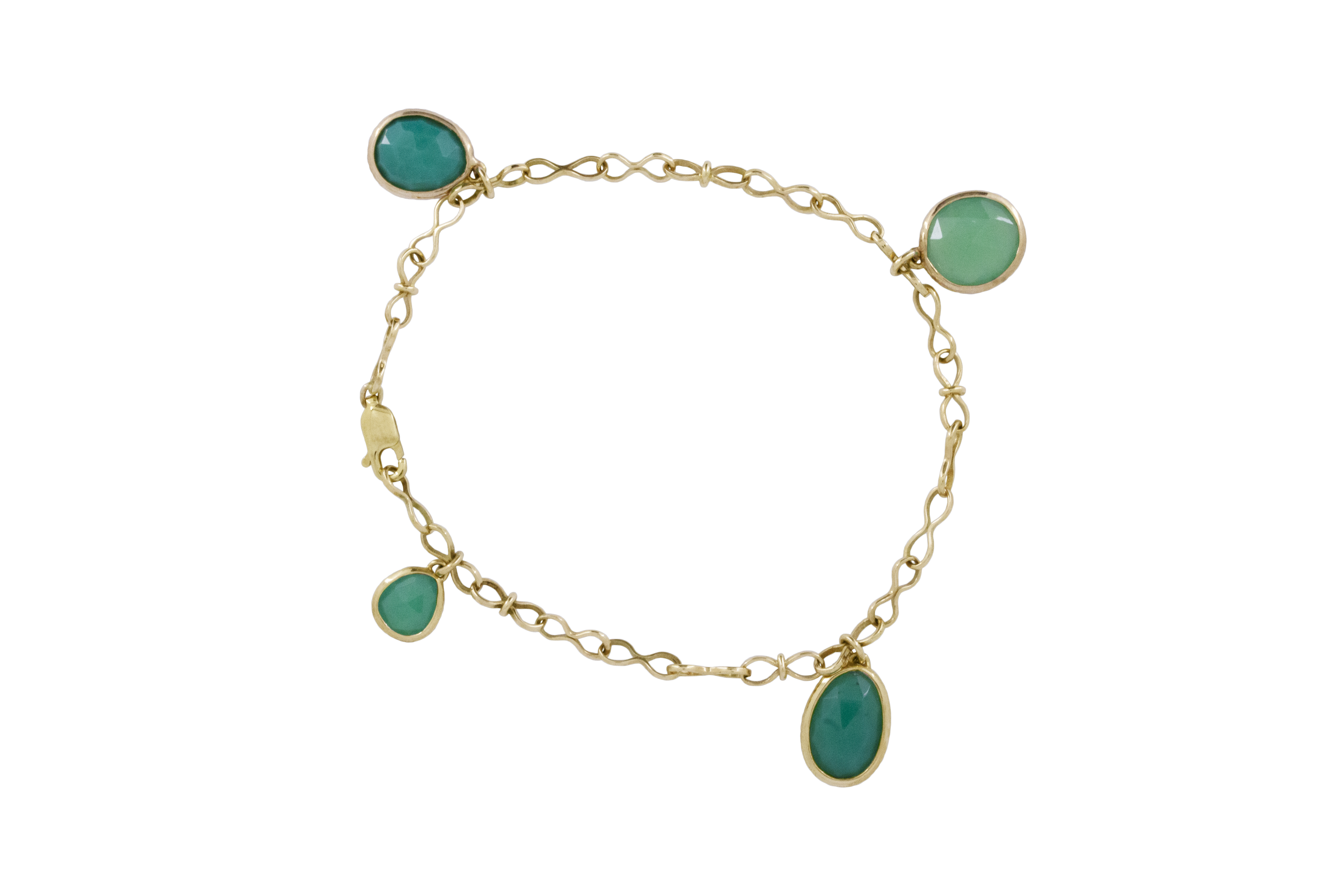 Chrysoprase Dangle Bracelet in 9ct Yellow Gold