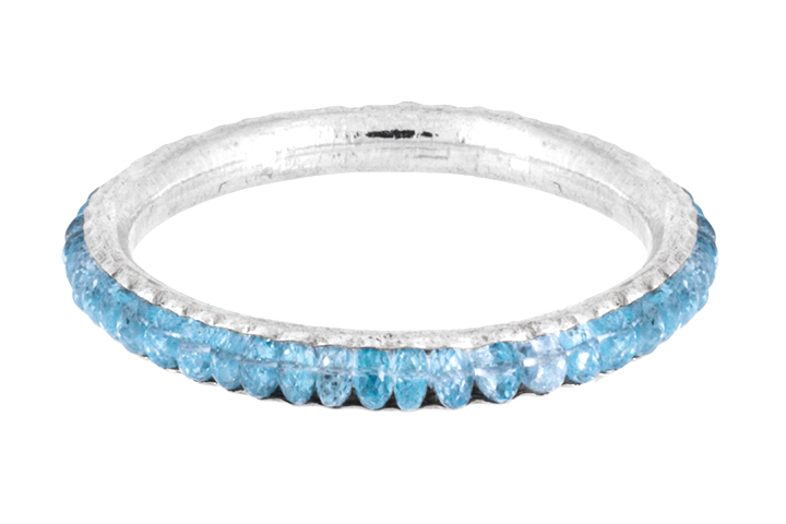 Blue Topaz Gemstone Bangle in Sterling Silver