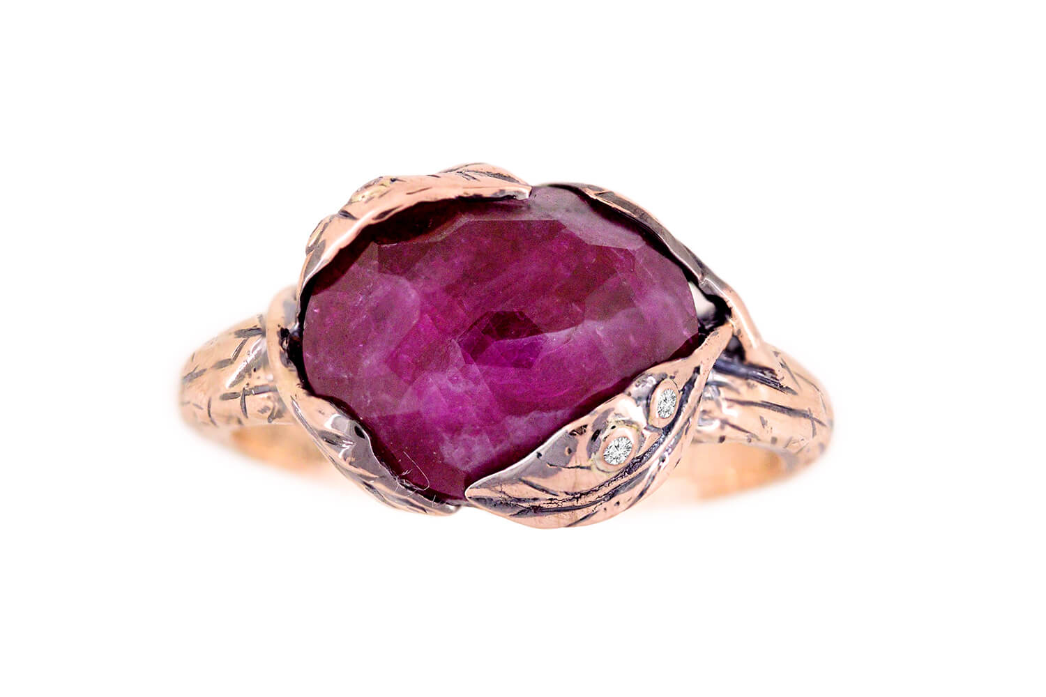 Ruby Leaf Ring A