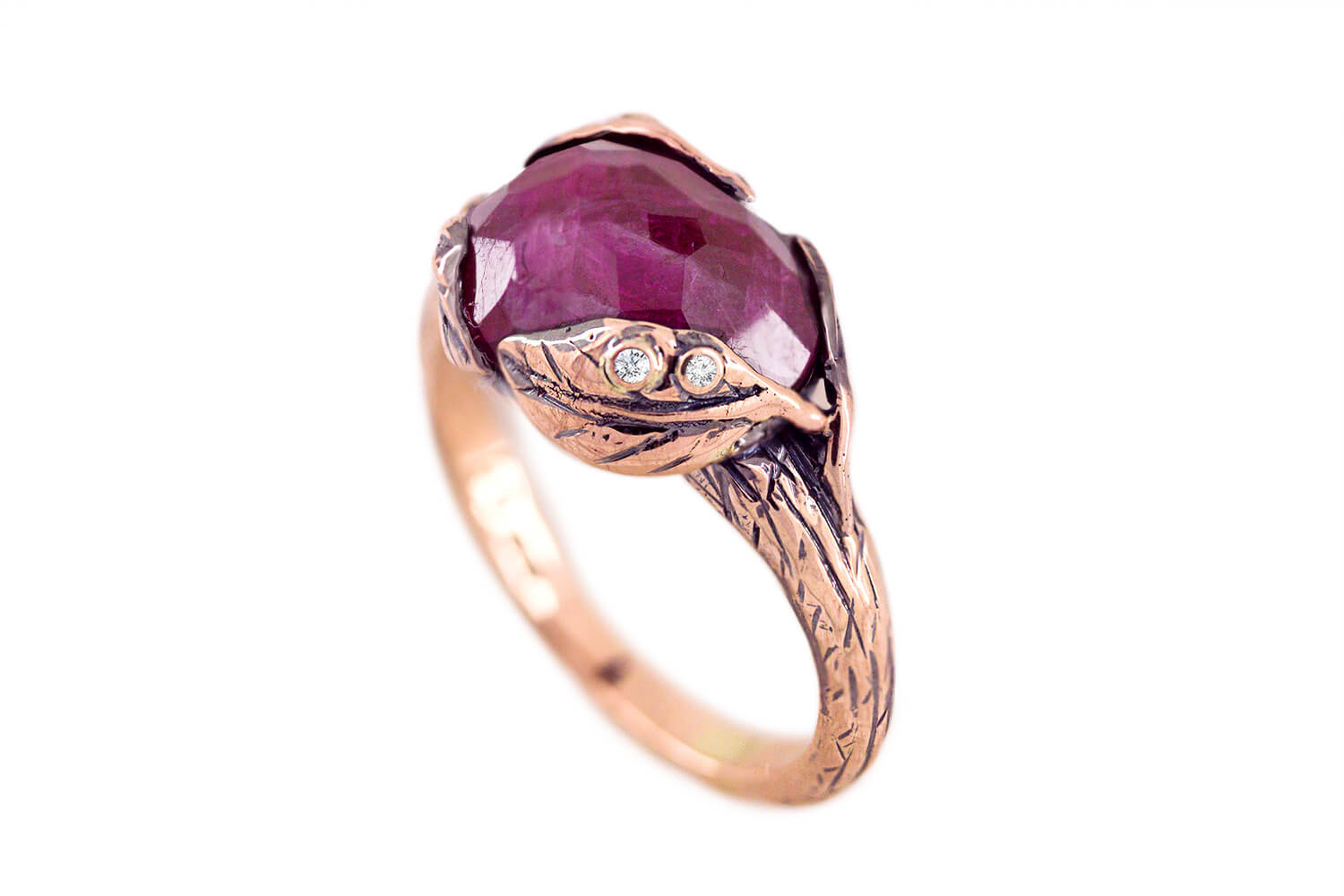 Ruby Leaf Ring B