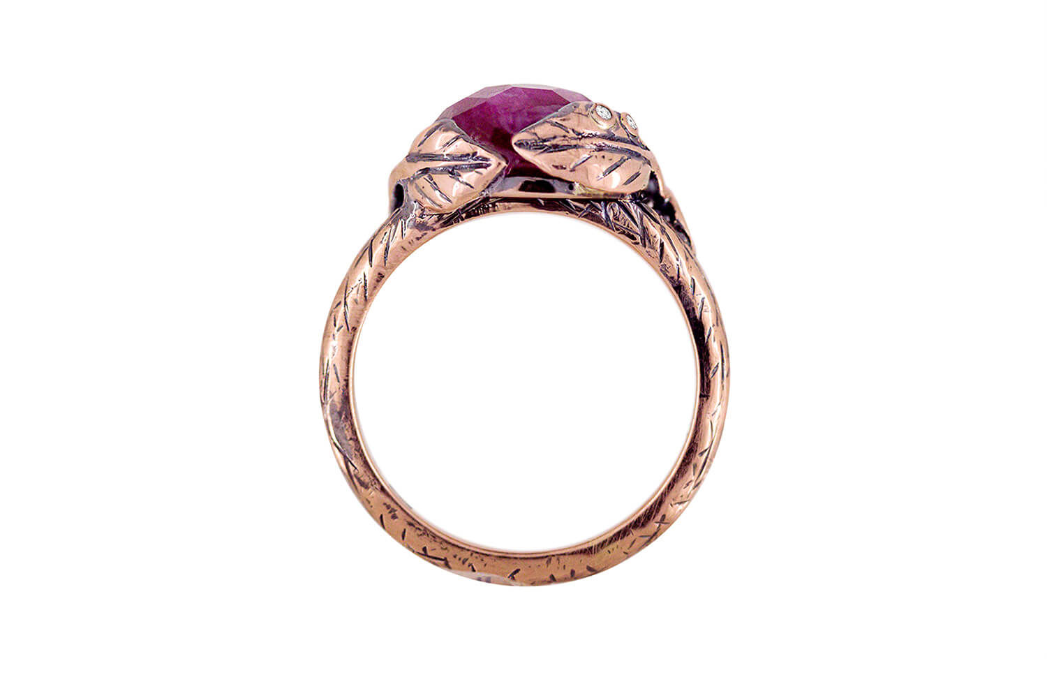 Ruby Leaf Ring D