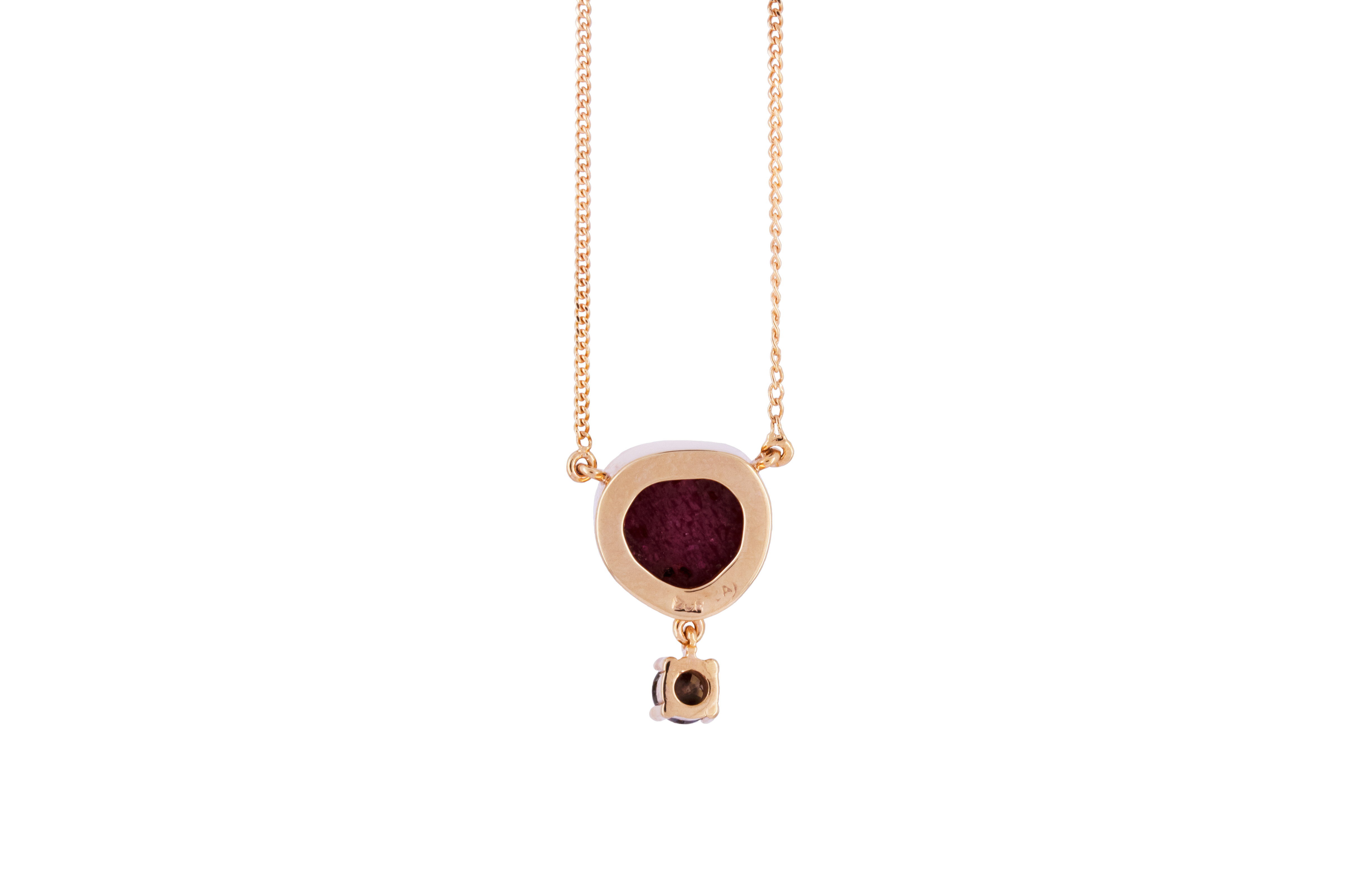 Ruby crystal & Diamond Pendant in 9ct Rose Gold