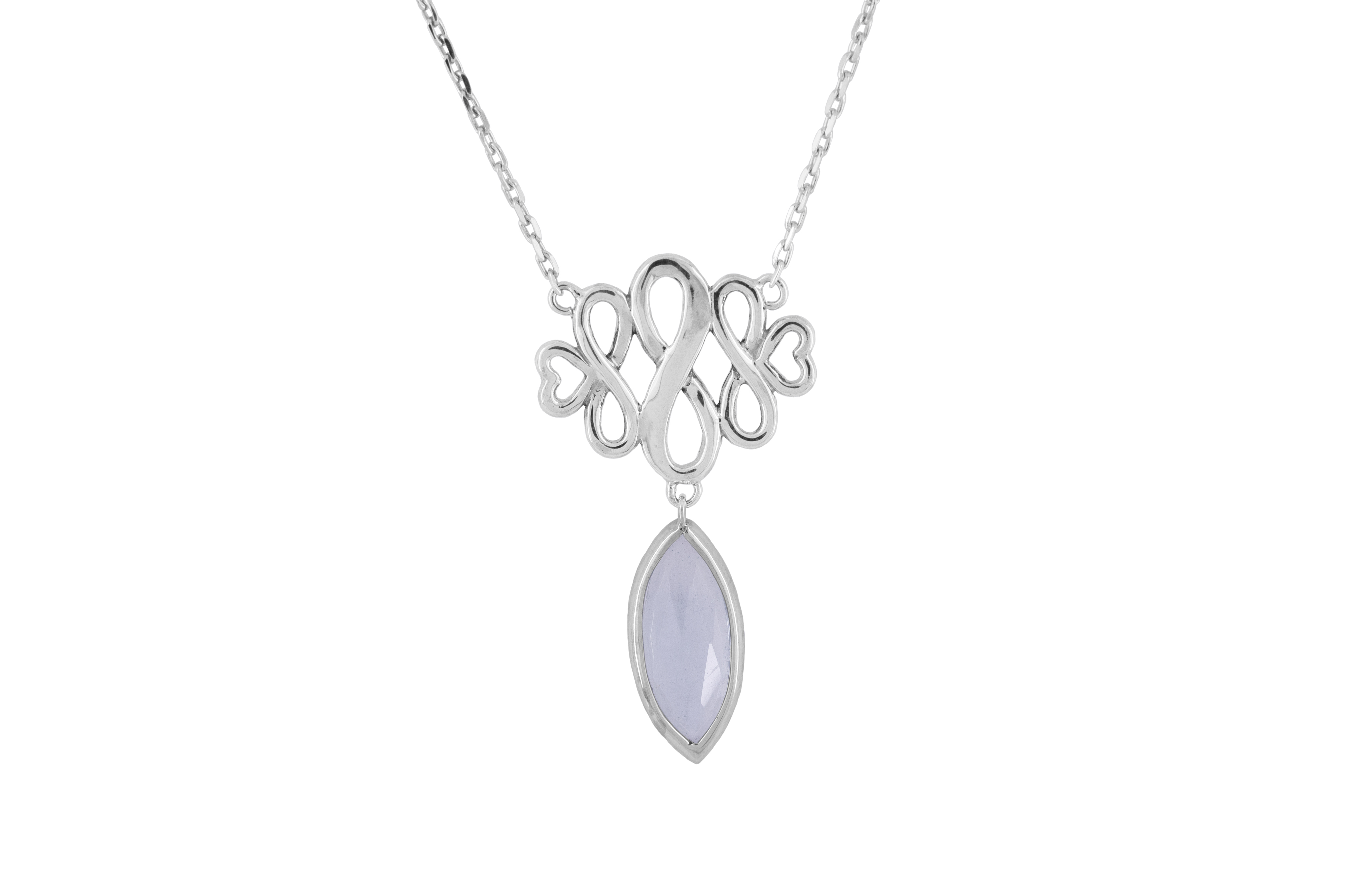 Blue Topaz Inifinity Necklace in Sterling Silver