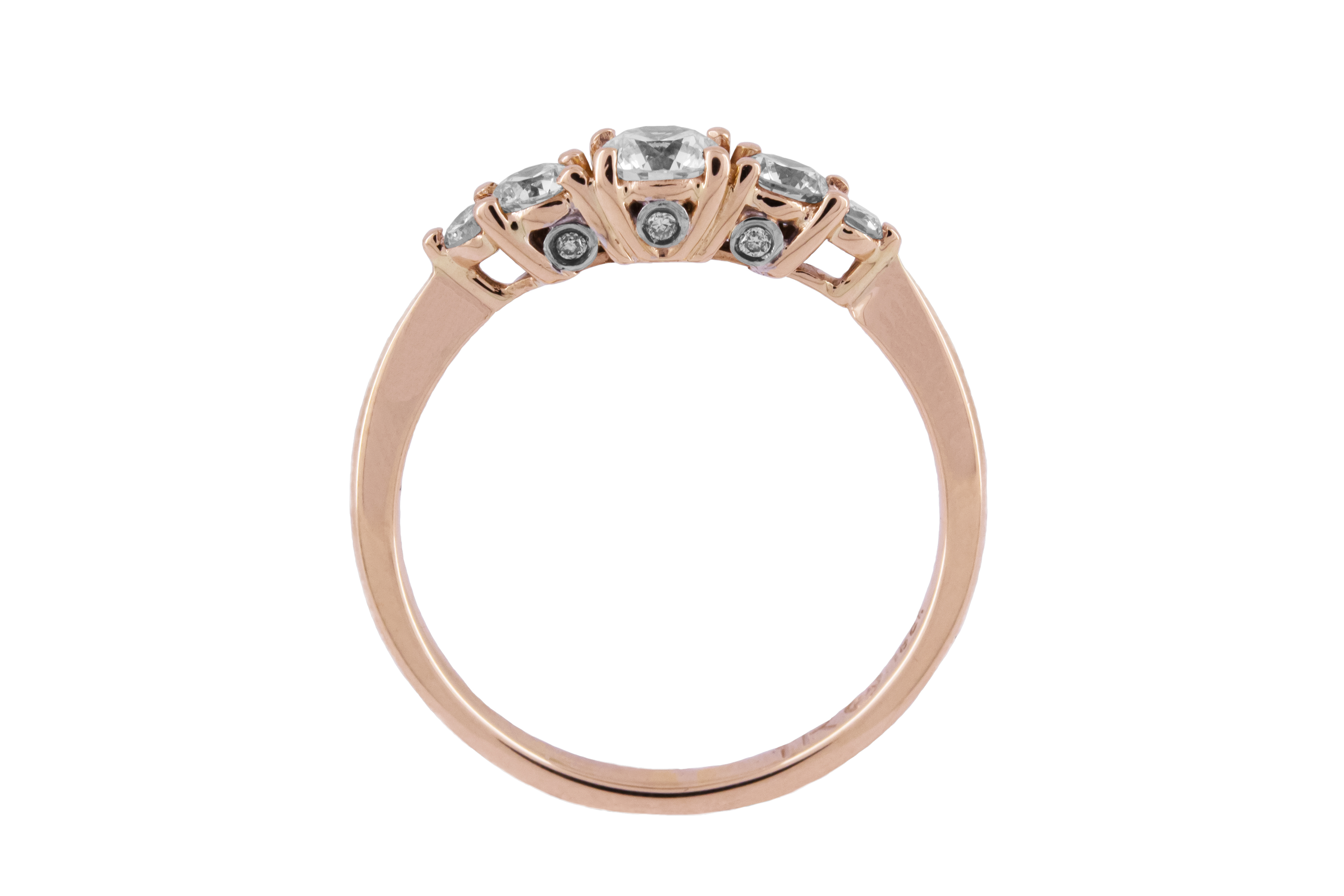 5 Stone Diamond Ring in 18ct Rose Gold