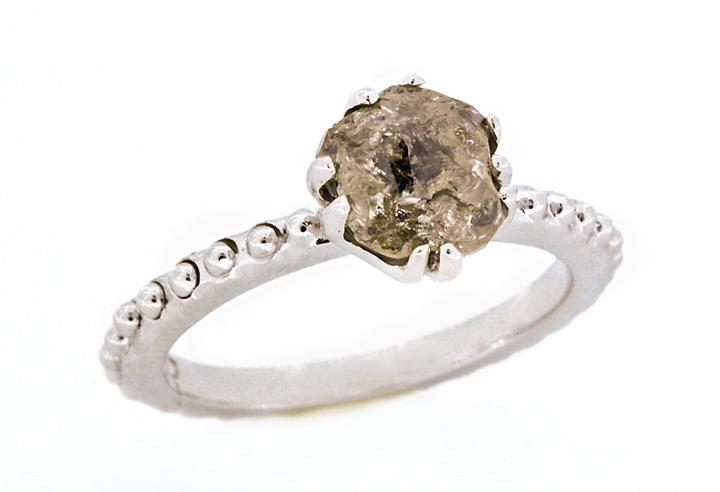 14 Facet Rough Diamond White Gold Ring