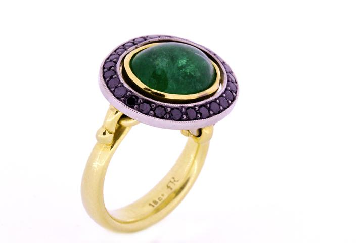 Emerald & Black Diamond, Yellow & White Gold Ring
