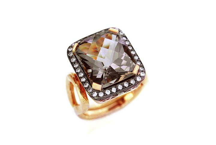 Pink Smoky Quartz, White & Black Diamond Rose Gold Ring