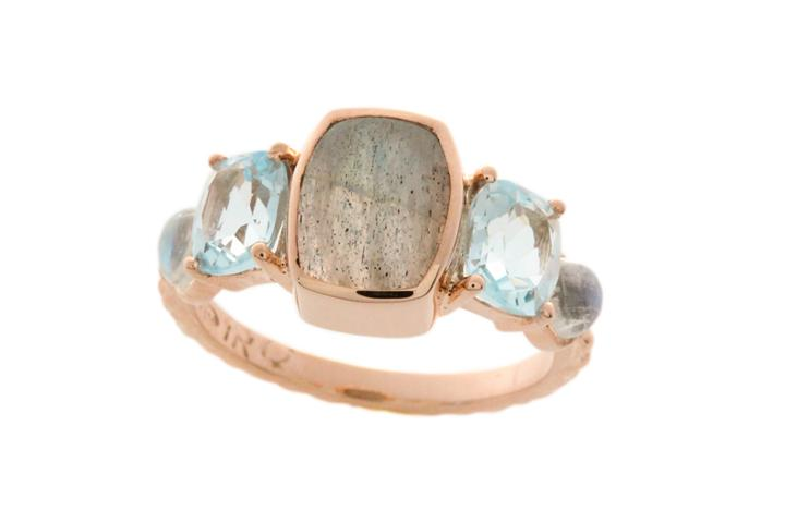 Rose Gold Labradorite, Blue Topaz & Moonstone Ring