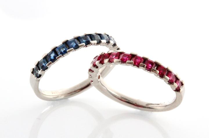 White Gold Square Blue Sapphire & Ruby Stack Rings
