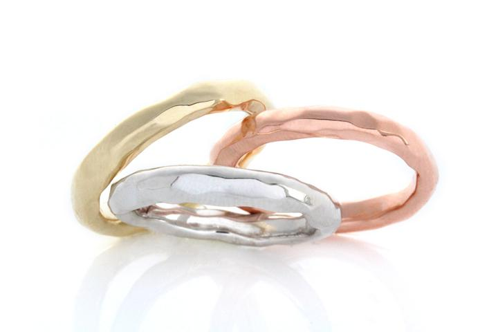 Yellow, White & Rose Gold Hammered Texture Stack Rings