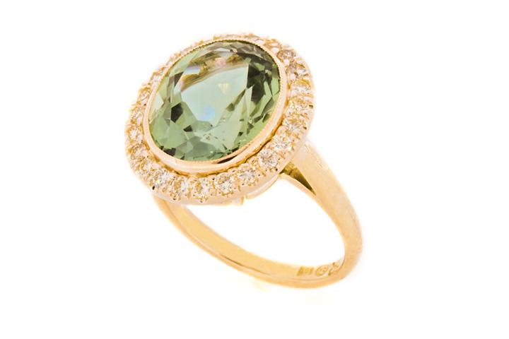 Yellow Gold, Green Topaz & Diamond Ring
