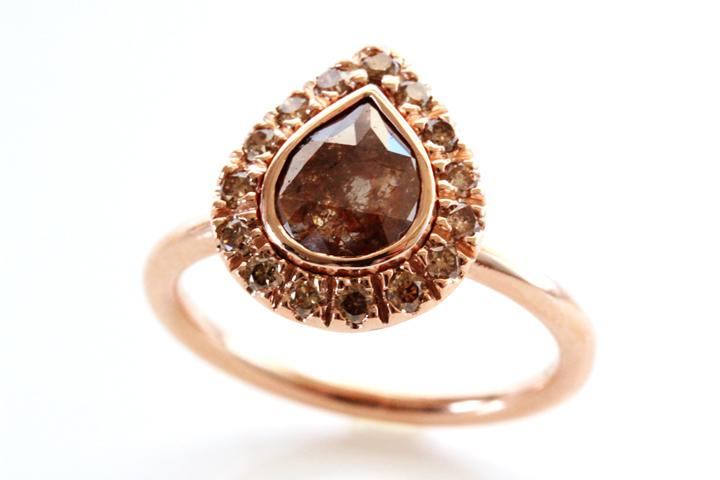 Rose Gold, Rose Cut Pear Diamond & Cognac Diamond Ring