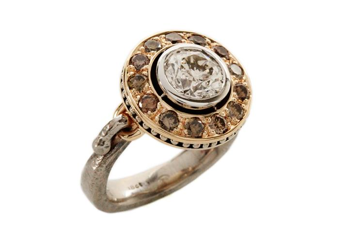 White Gold, White & Cognac Diamond Ring
