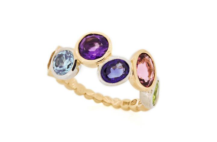 White & Yellow Gold Multi Colour Gemstone Ring