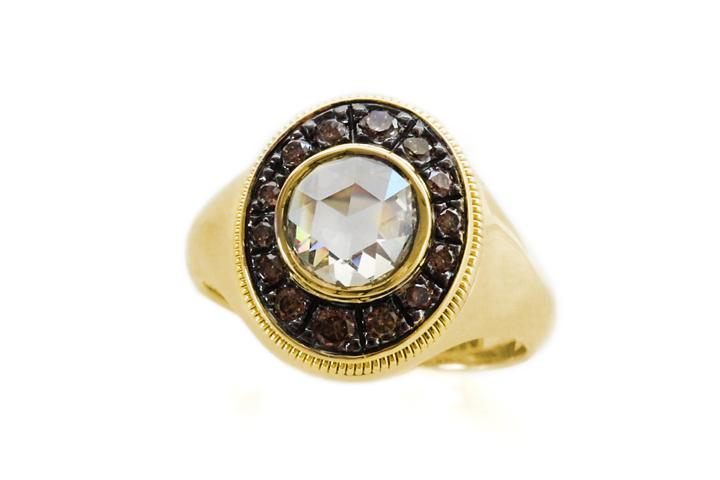 Yellow Gold, Rose Cut & Cognac Diamond Ring with Black Rhodium Plated Detail