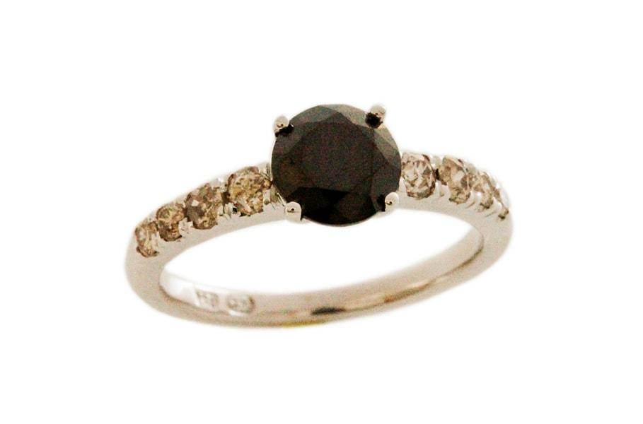 Black & Cognac Diamond Ring - 1